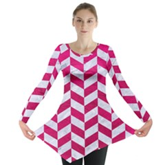 Chevron1 White Marble & Pink Leather Long Sleeve Tunic