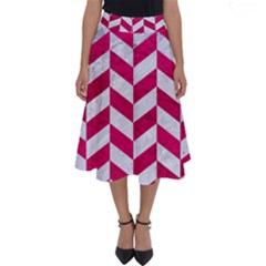 Chevron1 White Marble & Pink Leather Perfect Length Midi Skirt