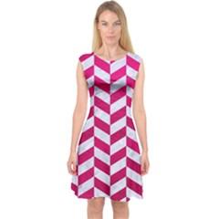 Chevron1 White Marble & Pink Leather Capsleeve Midi Dress