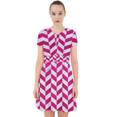 Chevron1 White Marble & Pink Leather Adorable In Chiffon Dress