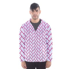 Brick2 White Marble & Pink Leather (r) Hooded Windbreaker (men)