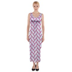 Brick2 White Marble & Pink Leather (r) Fitted Maxi Dress