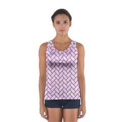 Brick2 White Marble & Pink Leather (r) Sport Tank Top