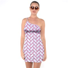 Brick2 White Marble & Pink Leather (r) One Soulder Bodycon Dress