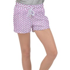 Brick2 White Marble & Pink Leather (r) Women s Velour Lounge Shorts