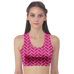 Brick2 White Marble & Pink Leather Sports Bra
