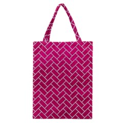 Brick2 White Marble & Pink Leather Classic Tote Bag
