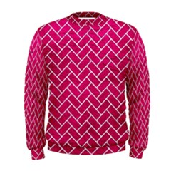 Brick2 White Marble & Pink Leather Men s Sweatshirt
