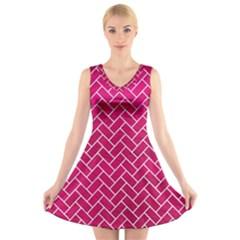 Brick2 White Marble & Pink Leather V Neck Sleeveless Dress