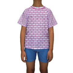 Brick1 White Marble & Pink Leather (r) Kids  Short Sleeve Swimwear