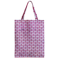 Brick1 White Marble & Pink Leather (r) Zipper Classic Tote Bag