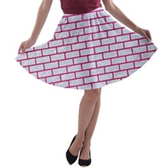 Brick1 White Marble & Pink Leather (r) A Line Skater Skirt