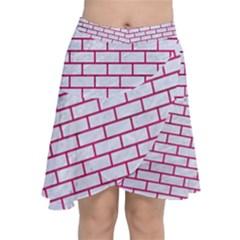 Brick1 White Marble & Pink Leather (r) Chiffon Wrap