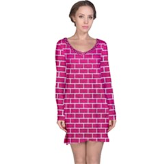 Brick1 White Marble & Pink Leather Long Sleeve Nightdress