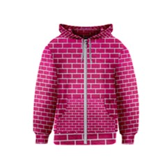 Brick1 White Marble & Pink Leather Kids  Zipper Hoodie