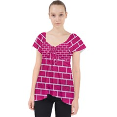 Brick1 White Marble & Pink Leather Lace Front Dolly Top