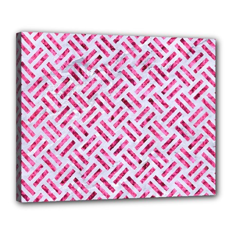 Woven2 White Marble & Pink Marble (r) Canvas 20  X 16