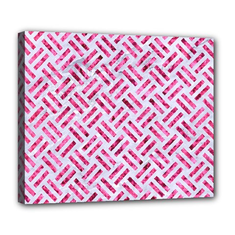 Woven2 White Marble & Pink Marble (r) Deluxe Canvas 24  X 20