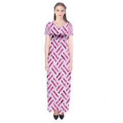 Woven2 White Marble & Pink Marble (r) Short Sleeve Maxi Dress