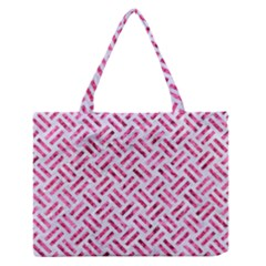Woven2 White Marble & Pink Marble (r) Zipper Medium Tote Bag