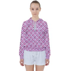 Woven2 White Marble & Pink Marble (r) Women s Tie Up Sweat