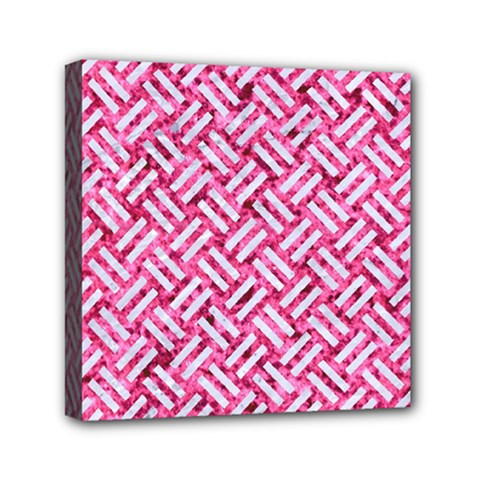 Woven2 White Marble & Pink Marble Mini Canvas 6  X 6