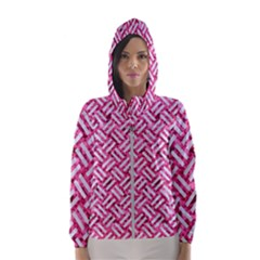 Woven2 White Marble & Pink Marble Hooded Windbreaker (women)