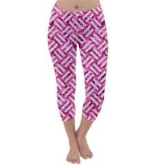 Woven2 White Marble & Pink Marble Capri Winter Leggings