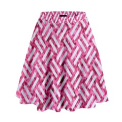 Woven2 White Marble & Pink Marble High Waist Skirt