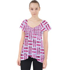 Woven1 White Marble & Pink Marble (r) Lace Front Dolly Top