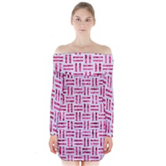 Woven1 White Marble & Pink Marble (r) Long Sleeve Off Shoulder Dress