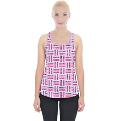 Woven1 White Marble & Pink Marble (r) Piece Up Tank Top