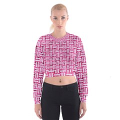 Woven1 White Marble & Pink Marble Cropped Sweatshirt