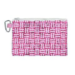 Woven1 White Marble & Pink Marble Canvas Cosmetic Bag (large)