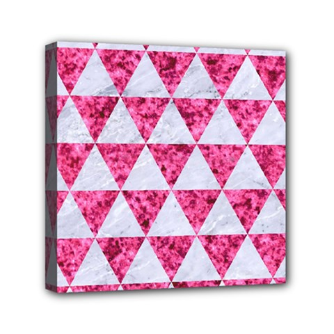Triangle3 White Marble & Pink Marble Mini Canvas 6  X 6
