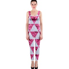 Triangle3 White Marble & Pink Marble One Piece Catsuit