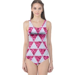 Triangle3 White Marble & Pink Marble One Piece Swimsuit
