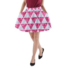 Triangle3 White Marble & Pink Marble A Line Pocket Skirt