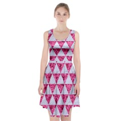 Triangle3 White Marble & Pink Marble Racerback Midi Dress