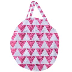 Triangle2 White Marble & Pink Marble Giant Round Zipper Tote