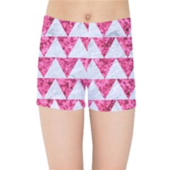 Triangle2 White Marble & Pink Marble Kids Sports Shorts