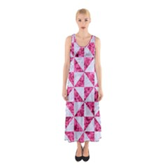 Triangle1 White Marble & Pink Marble Sleeveless Maxi Dress