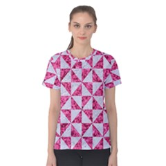 Triangle1 White Marble & Pink Marble Women s Cotton Tee