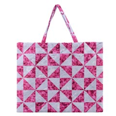 Triangle1 White Marble & Pink Marble Zipper Large Tote Bag