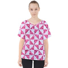 Triangle1 White Marble & Pink Marble V Neck Dolman Drape Top