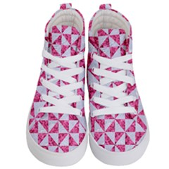 Triangle1 White Marble & Pink Marble Kid s Hi Top Skate Sneakers