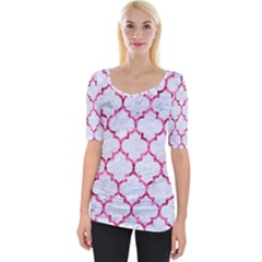 Tile1 White Marble & Pink Marble (r) Wide Neckline Tee