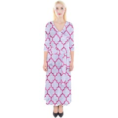 Tile1 White Marble & Pink Marble (r) Quarter Sleeve Wrap Maxi Dress
