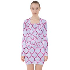 Tile1 White Marble & Pink Marble (r) V Neck Bodycon Long Sleeve Dress