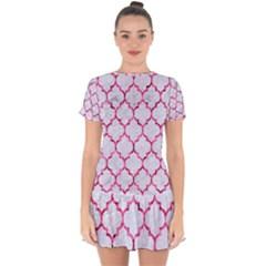 Tile1 White Marble & Pink Marble (r) Drop Hem Mini Chiffon Dress